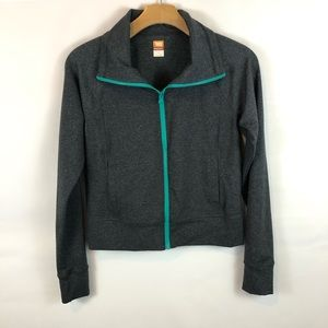 Lucy full zip workout with turquoise zip accent XS